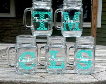Chevron monogram mason jar.  Personalized, custom glasses. Mint blue and white gift idea, Sorority gift, Big sister, little sister gift idea