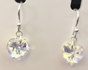Swarovski AB Crystal Heart and Silver Earrings