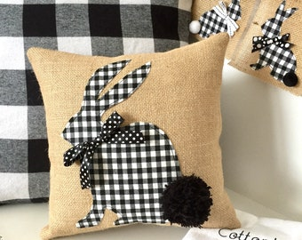 Bunny Pillow Cover, Black and White Bunny Pillow, Easter Pillow Cover, Easter Bunny Pillow, Black White Easter, Spring Pillow Cover