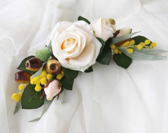 Silk Flower hair comb / clip. Cream roses, yellow wattle, gumnuts, green thistle. Hair flowers for wedding, photoshoot, party, races