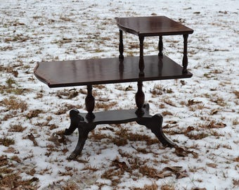 Vintage Wood Tier Table Ornate Details Victorian Style Dark Brown Finish Brass Feet Covers PanchosPorch