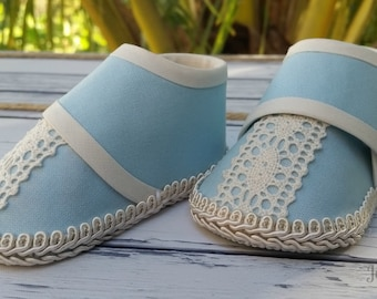 Unique Baby Boy Shoes - Baby Blue and Cream Boots for Baby - Baby Shower Gift - Handmade Baby Shoes for Boy - Beautiful Shoes for Baby