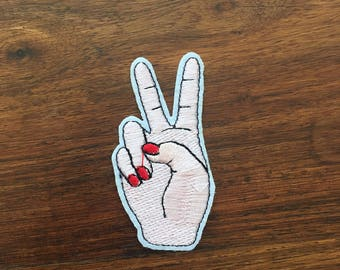 Peace Sign Hand - Iron on Appliqué Patch