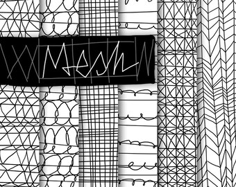 Grid digital paper, black and white pattern, doodle background, hand drawn papers, mesh digital paper, black scrapbooking, printable papers