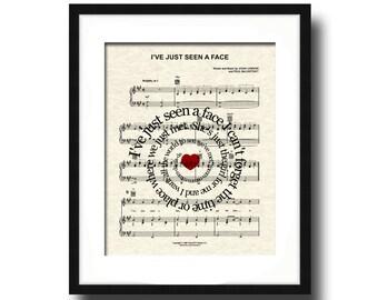 I've Just Seen A Face Song Lyric Sheet Music Art Print