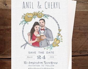 Save the Date Custom Couple Invitation-Couple Illustration - Save The Date Card -Digital Printable-Wedding Invite-Save the Date Illustration