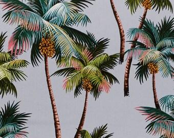 Tropical Fabric Palm Trees Grey Blue One Yard 100% Cotton Barkcloth Island Polynesia Upholstery Hawaii Rarotonga Tahiti Free shipping