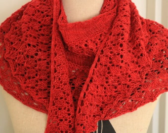 Lacy Red Handknit Shawl
