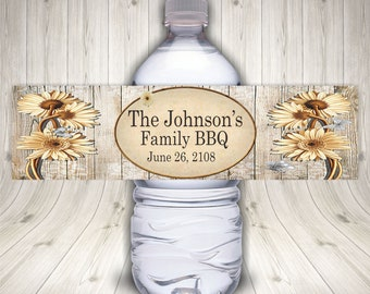 Family Reunion BBQ Water Bottle Labels, Picnic, Backyard Barbecue, BBQ Party, Summer Party, Family Party, Family Gathering, Custom