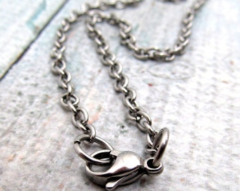 """Stainless Steel Cable Chain Necklace with Lobster Clasp - Finished Necklace - 4mm chain - Stainless Steel Findings 18"""" 20"""" 22""""  or 24"""" (046)"""