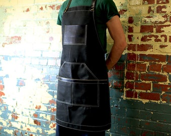 Leather and Canvas Apron, Waxed Canvas Apron, Work Apron, Black Waxed Canvas Apron
