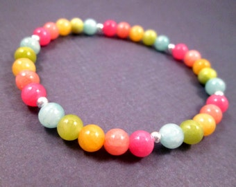 Gemstone Bracelet, Colorful Quartzite Stretch Bracelet, Silver Beaded Bracelet, Free Shipping U.S.