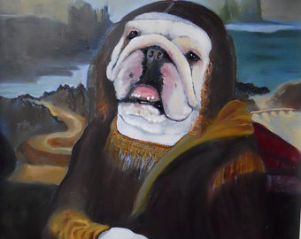"English Bulldog Art Print of an original oil painting / ""Mona Who"" / Dog Art / 8 x 10"