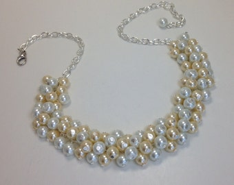 Pearl Necklace, White and Ivory Cluster Pearl Necklace, Chunky Pearl Necklace, Cluster Necklace, Bib Pearl Necklace, Bauble Pearl Jewelry