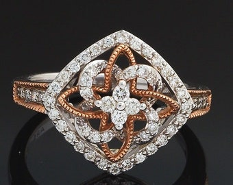 14K White & Rose Two-Tone Gold Diamond Infinity Knot Ribbed Textured Ring