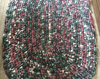Burgundy, dark green, blue oval rag rug. Door entry or welcome mat. Machine Washable!