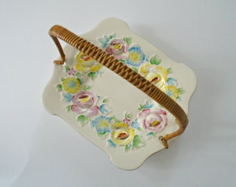 Vintage Rose Plate With Wicker Handle / Textured Roses / Rose Dish / Ceramic Dish / Candy Dish / Jewelry Dish / Trinket Dish / Pink / Yellow