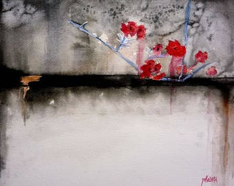 watercolor flowers on a black wall