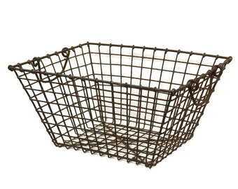 Industrial Antique Metal Locker Basket. Rustic French Mussel Basket.