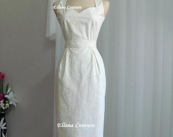 Pamela - Cotton Wedding Dress. Feminine Vintage Inspired Design.