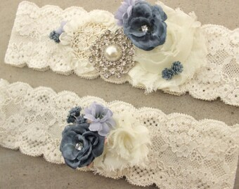 Something Blue Garter - Dusty Blue Wedding Garter Set Periwinkle Garter  Dusky Blue Bridal Garder Periwinkle Blue Country Wedding Garderbelt