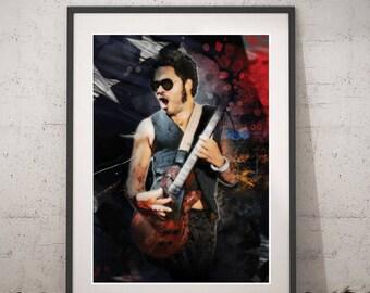 Lenny Kravitz printable portrait - Rock digital art - Instant download Wall art - Music Lenny Kravitz Poster - Famous Singers - American