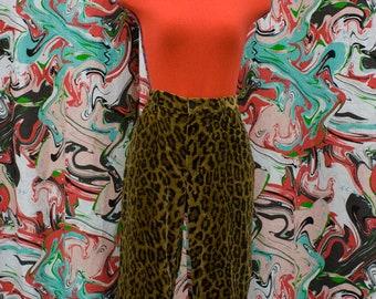1990's Ralph Lauren leopard velvet trousers