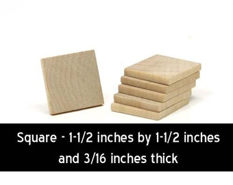 Unfinished Wood Square - 1-1/2 inches by 1-1/2 inches and 3/16 inches thick wooden shape (WW-JC7818)