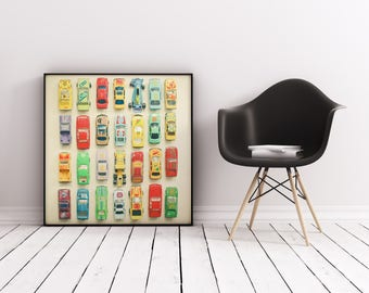 Car Nursery Print, Racing Car Photograph, Retro Wall Art, Boys Bedroom Art - Car Park