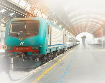Train Photography, Italy Photograph, Wall Art Print, Milan Decor - Travel Photo, Landscape Train Art, Europe Prints, Teal Blue, Bright Red,
