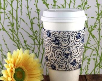 Fabric Coffee Cozy / Blue Coffee Cozy / Flower Coffee Cozy / Coffee Cozy / Tea Cozy