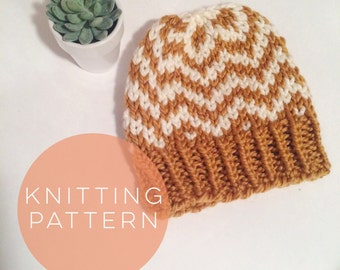 Knitting Pattern Hat Womens Hat Instant Download Fair Isle Hat Pattern  Pom Pom Hat Pattern  Knit Pompom Hat Pattern Women Accessories