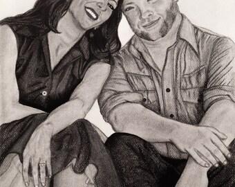 """CUSTOM Portrait, Realistic Charcoal Drawing - 11"""" x 14"""""""