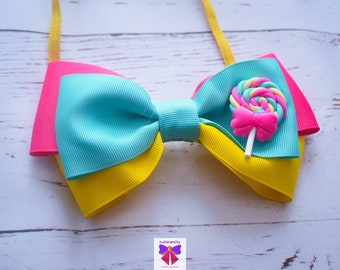 Pink, Mint and Yellow Candy Grosgrain Ribbon Bow  - Baby / Toddler / Girls / Kids Headband / Hairband / Hair bow / Barette / Hairclip