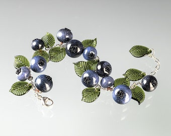 Glass Blueberry Bracelet  Lampwork bead jewelry hand blown glass art birthday gift or Mother's Day gift for gardener, cook
