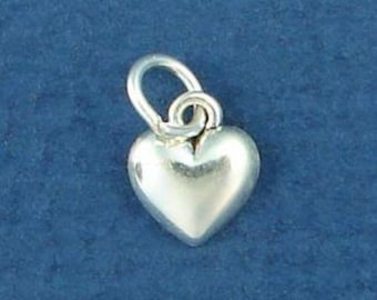 HEART Charm .925 Sterling Silver MINIATURE Small - elp607