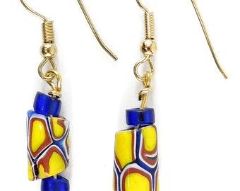 Earrings Millefiori African Trade Beads 112197