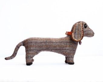 Dachshund Dog Soft Stuffed Toy Personalized Pet Classic Brown Grey Tweed