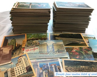 Antique and vintage postcards - random lot of 25 - from the United States (1920s through '80s) Genuine Originals, various states & U.K.