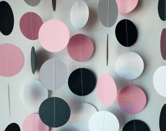 Pink, Navy and White Paper Garland, Pink / Navy Wedding Decor, Pink / Navy Birthday Decoration, Pink Baby Shower Decor, Pink Birthday Party,