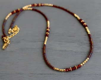 Garnet necklace, January birthstone necklace, garnet and gold beaded necklace, delicate gemstone necklace, layering necklace, gifts for her