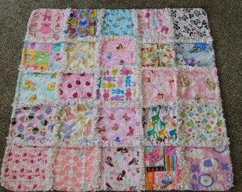 I Spy Blanket,Girl Rag Quilt, Baby Girl Shower Gift, Stroller blanket, Crib Blanket,Fox Blanket, Pet Blanket,  Baby Girl Rag Quilt Blanket
