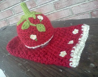Strawberry Patch Cocoon with Beanie- MADE to ORDER- Newborn set