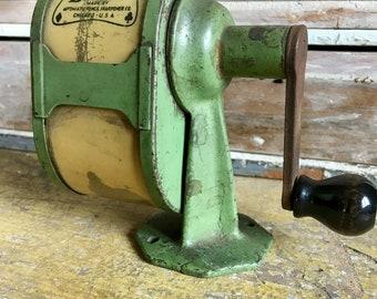 Antique Green Iron Pencil Sharpener...Old. Metal. Retro. Vintage. Pencils. Wood. Crank. Automatic. Chicago. Bridge. Office. School. Desk.