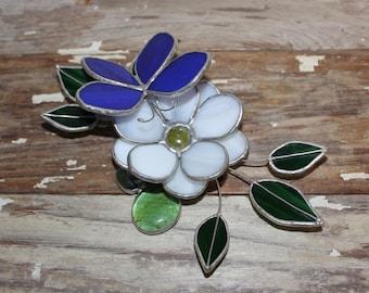 Stained glass 3-D flower with blue butterfly white flower