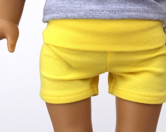 SAMPLE SALE - Fits like American Girl Doll Clothes - Yoga Shorts in Light Yellow | 18 Inch Doll Clothes