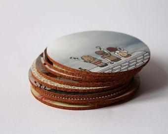 Coaster with illustration, handmade coasters
