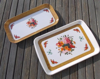 floral Bohemian trays, dishes the 1970s vintage