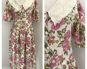 80s Rayon Floral Dress with Embroidered Collar