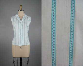 Vintage 1950s Cotton Striped Blouse 50s Blue and White Summer Top by Spartan Classic